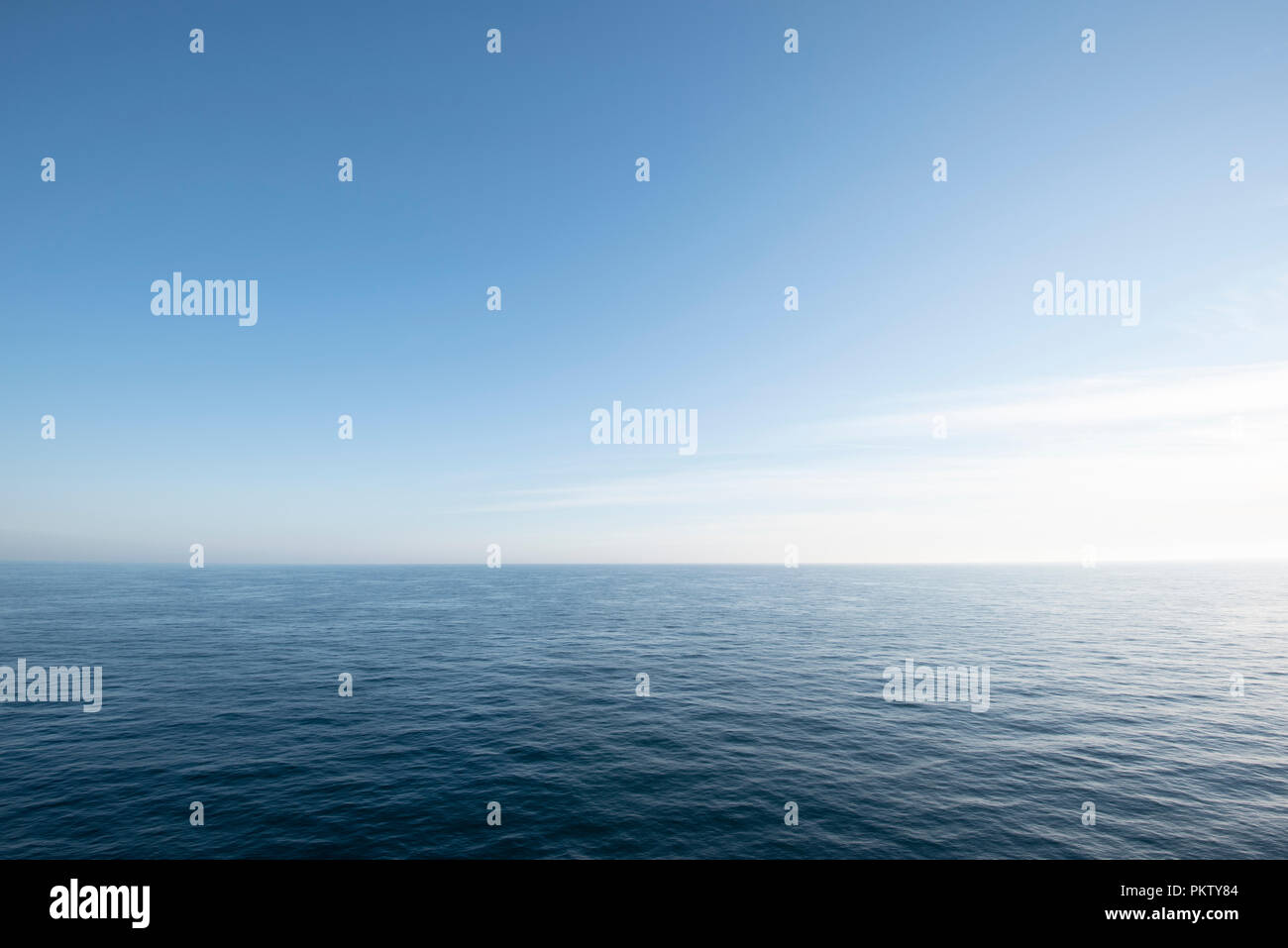 View over the North Sea in clear, cloudless sky, North Holland, Netherlands Stock Photo