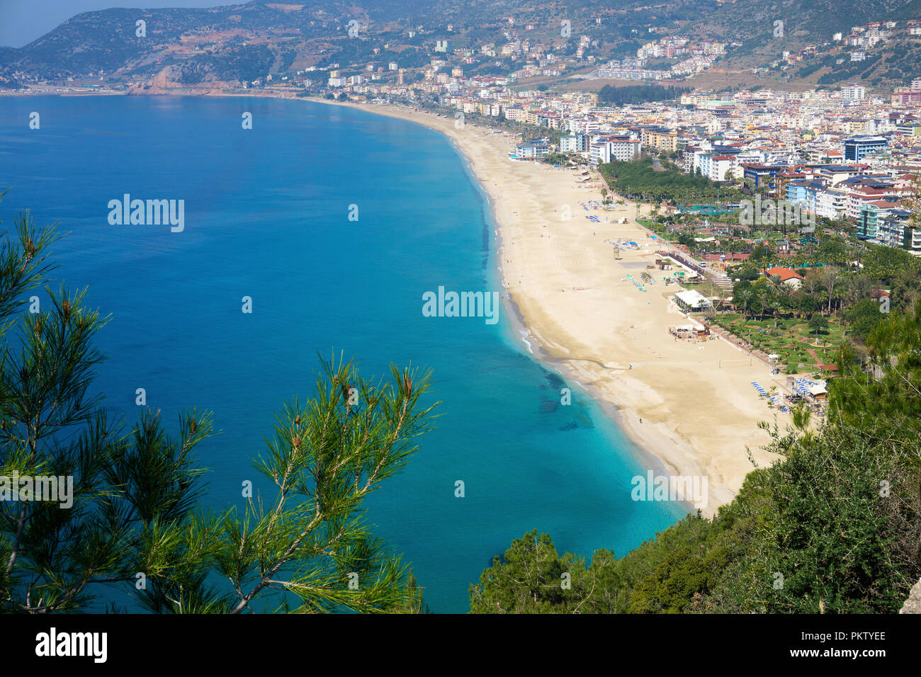 Cleopatra beach, city beach in Alanya, seaside resort on the Turkish Riviera, Turkey - Stock Image