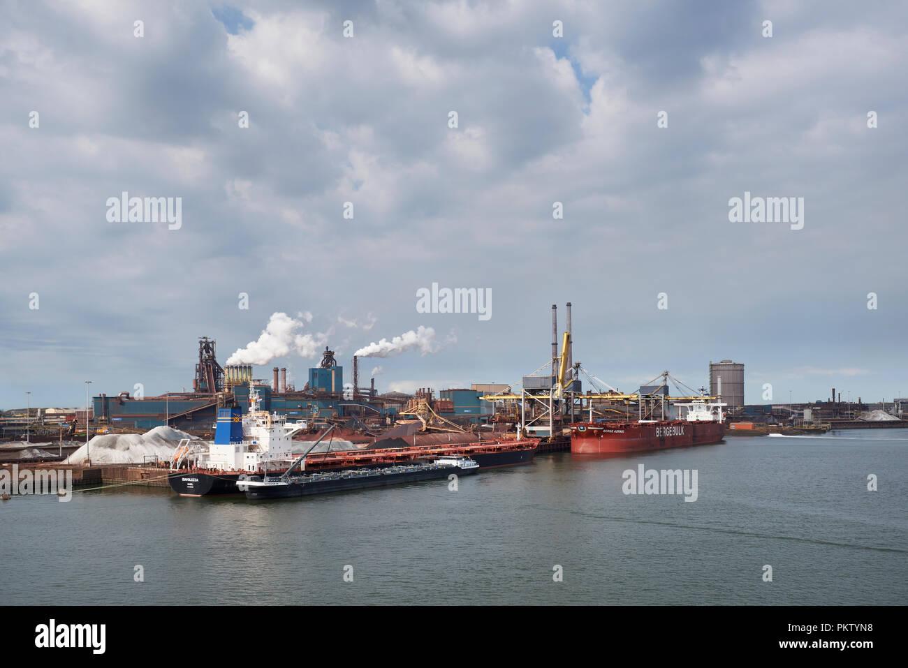 Steel mill of Tata Steel on the North Sea coast near Amsterdam, North Holland, the Netherlands - Stock Image