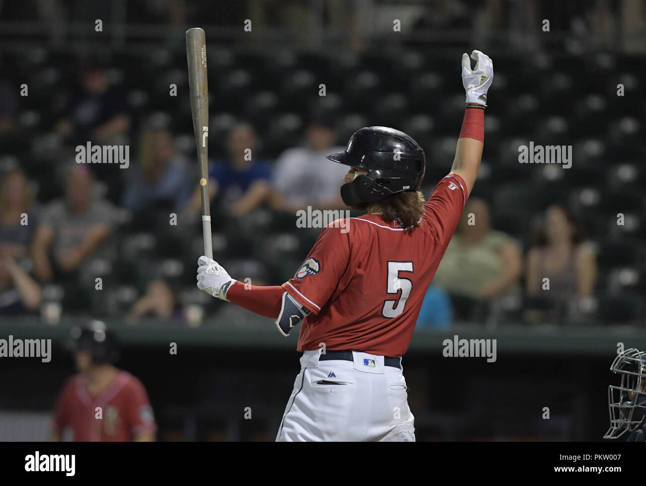 Shortstop Bo Bichette hits for the New Hampshire Fisher Cats during a minor league playoff game in Manchester, N.H., USA. - Stock Image