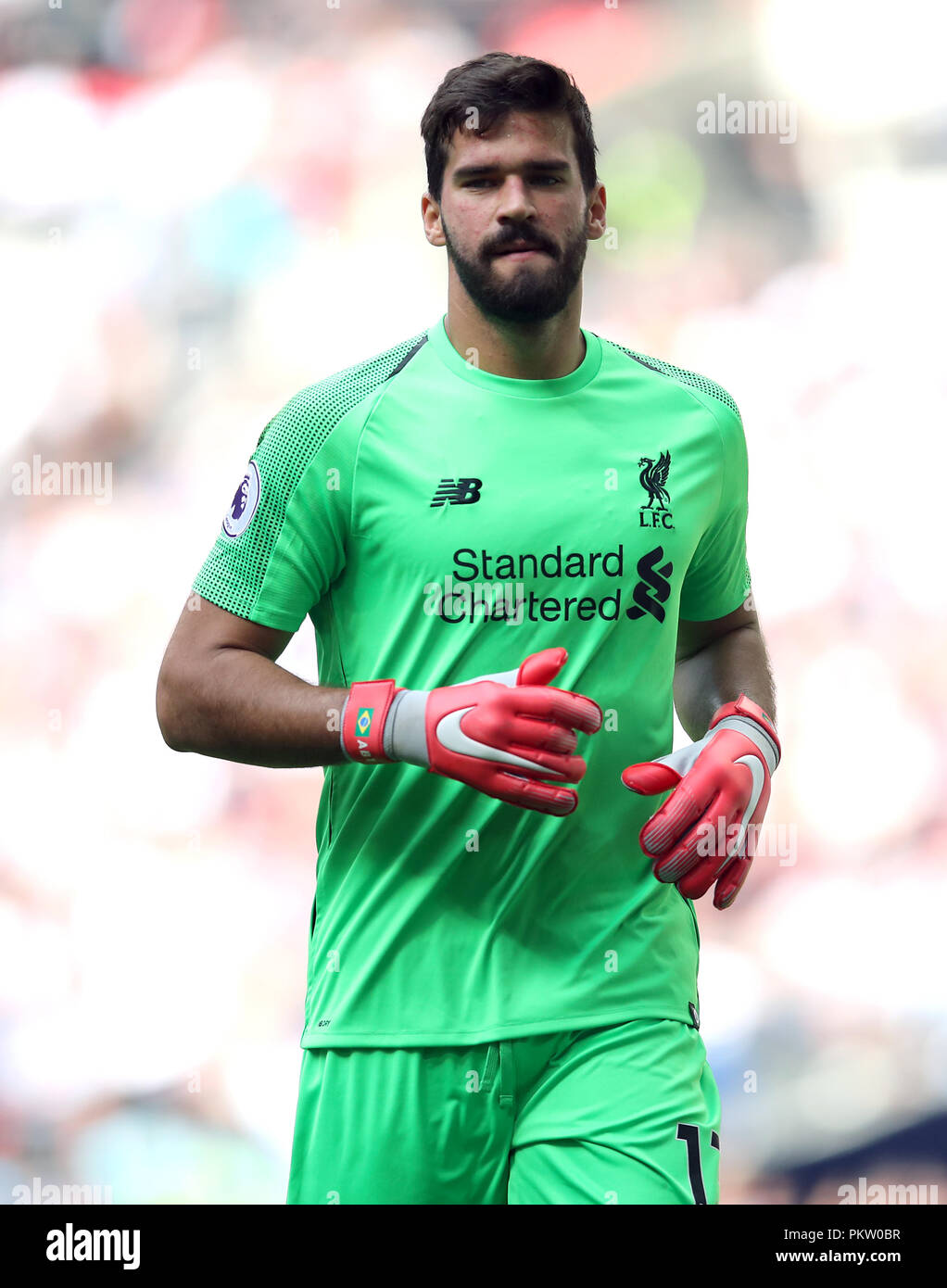 75f8fc201db Liverpool goalkeeper Alisson Becker during the Premier League match at  Wembley Stadium