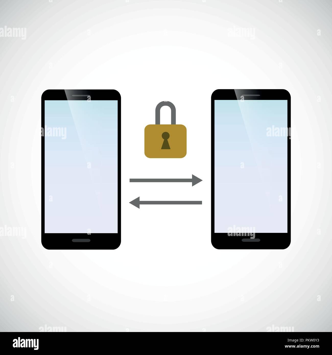secure data exchange between two smartphones vector illustration EPS10 - Stock Image