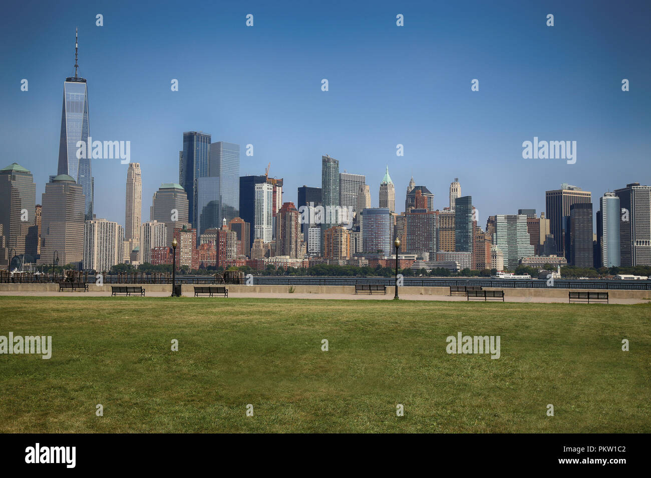 Manhattan Skyline from Liberty State Park Playground in NewJersey, New York City - Stock Image