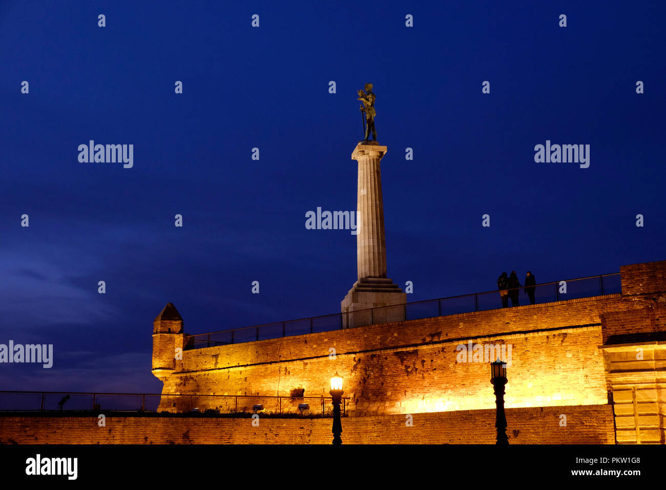 View of he Pobednik monument or the Statue of Victor by Ivan Mestrovic set up in 1928 to commemorate Serbia's victory over Ottoman and Austro-Hungarian Empire during the Balkan Wars and the First World War located at the Kalemegdan fortress in the city of Belgrade capital of the Republic of Serbia - Stock Image