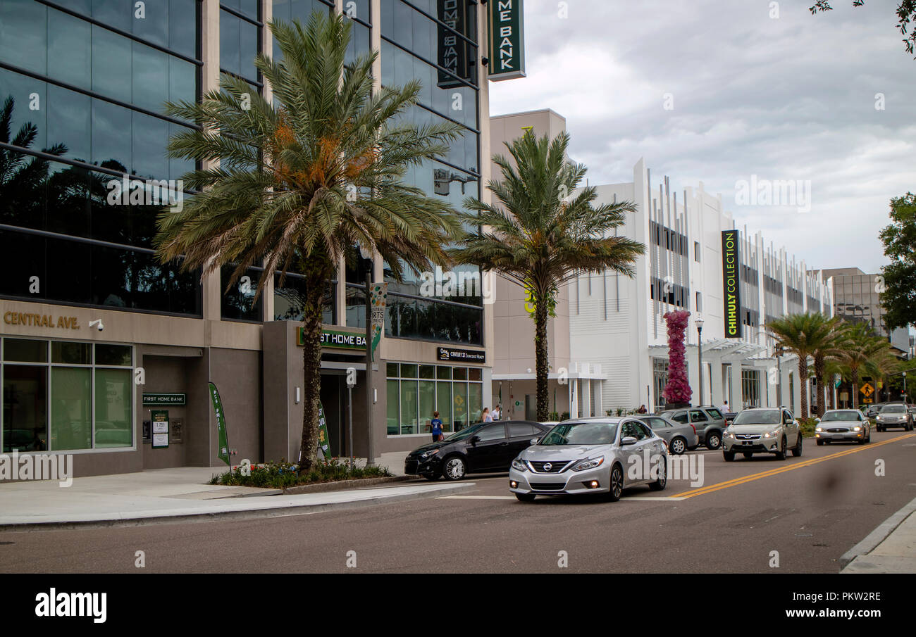 First Home Bank and the Chihuly Collection buildings downtown, St Petersburg, Florida, USA. Stock Photo