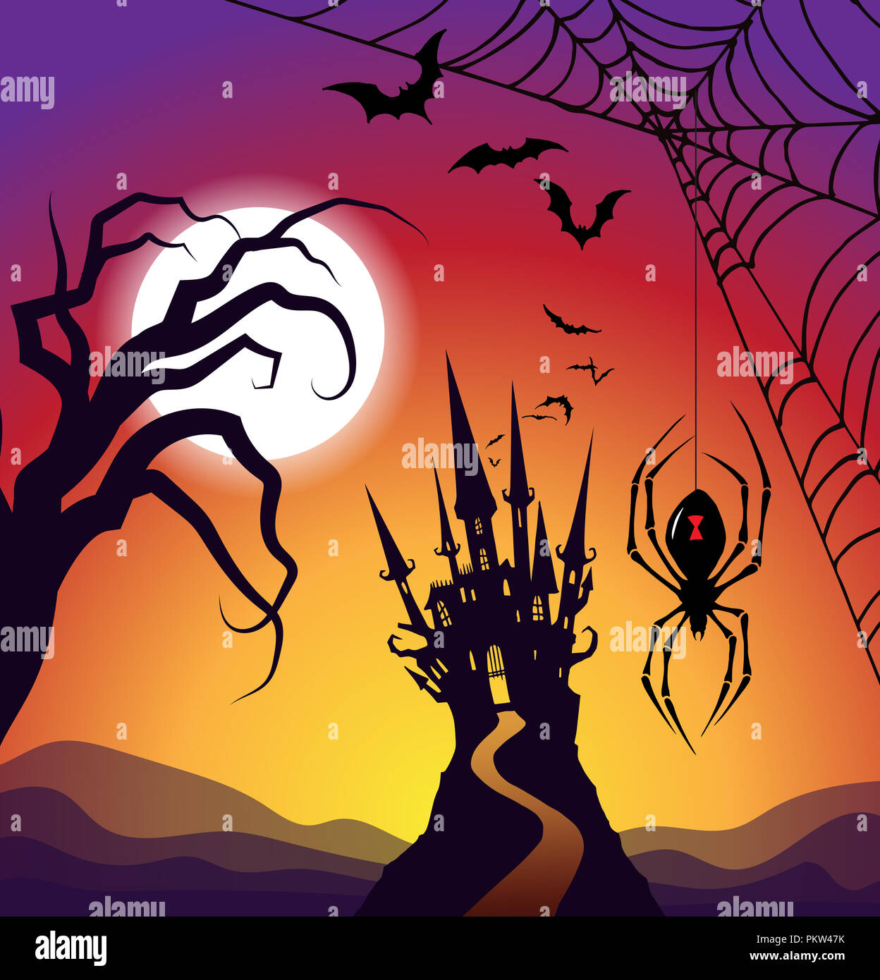 Halloween road leading to haunted castle with spider wet and bats - Stock Image
