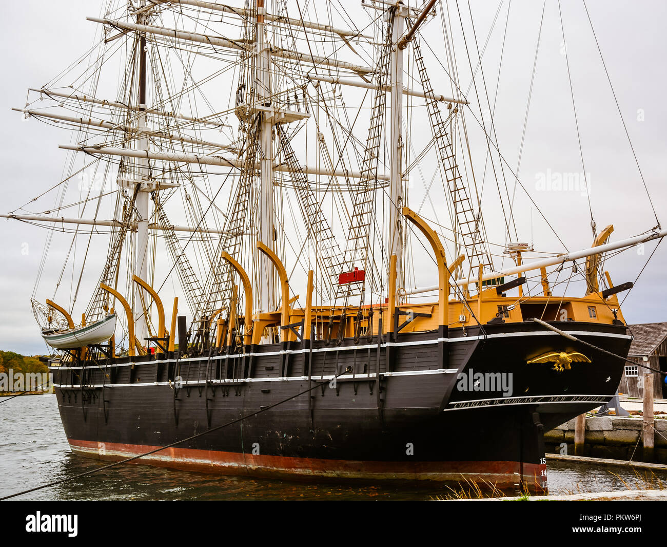 The Charles W. Morgan - America's oldest commercial ship still afloat - Stock Image