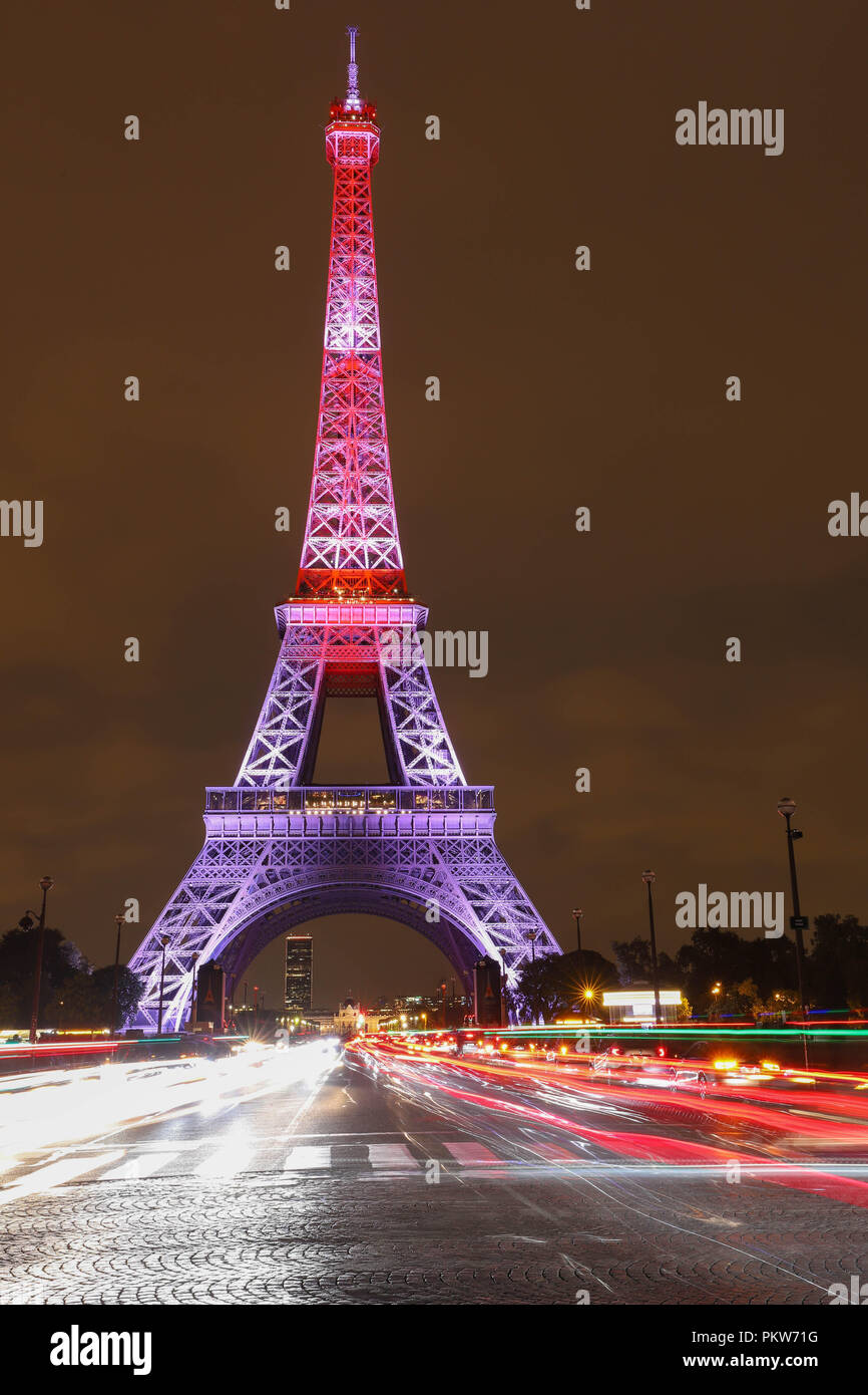 The light show on the Eiffel Tower,on the night of Sept. 13 2018 to celebrate the 160th anniversary of Japan-France friendship. - Stock Image