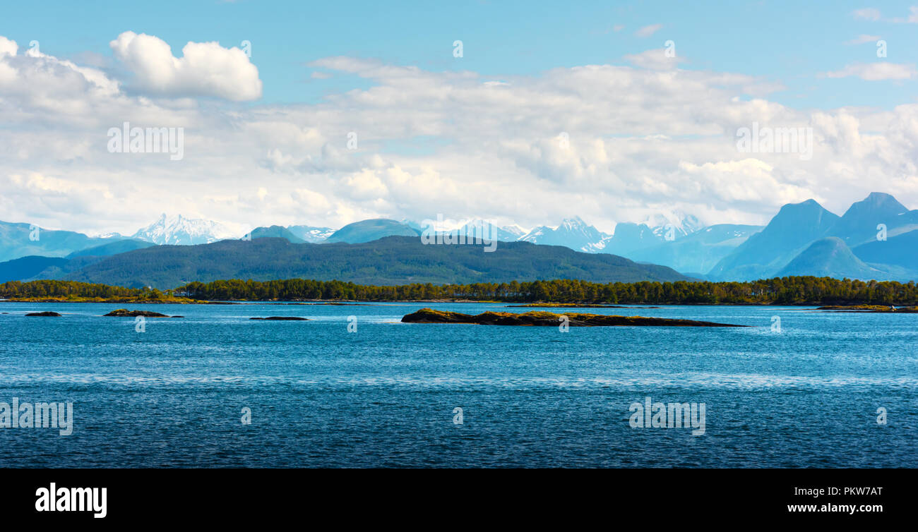 Sunny morning near the ferry moorage - Stock Image