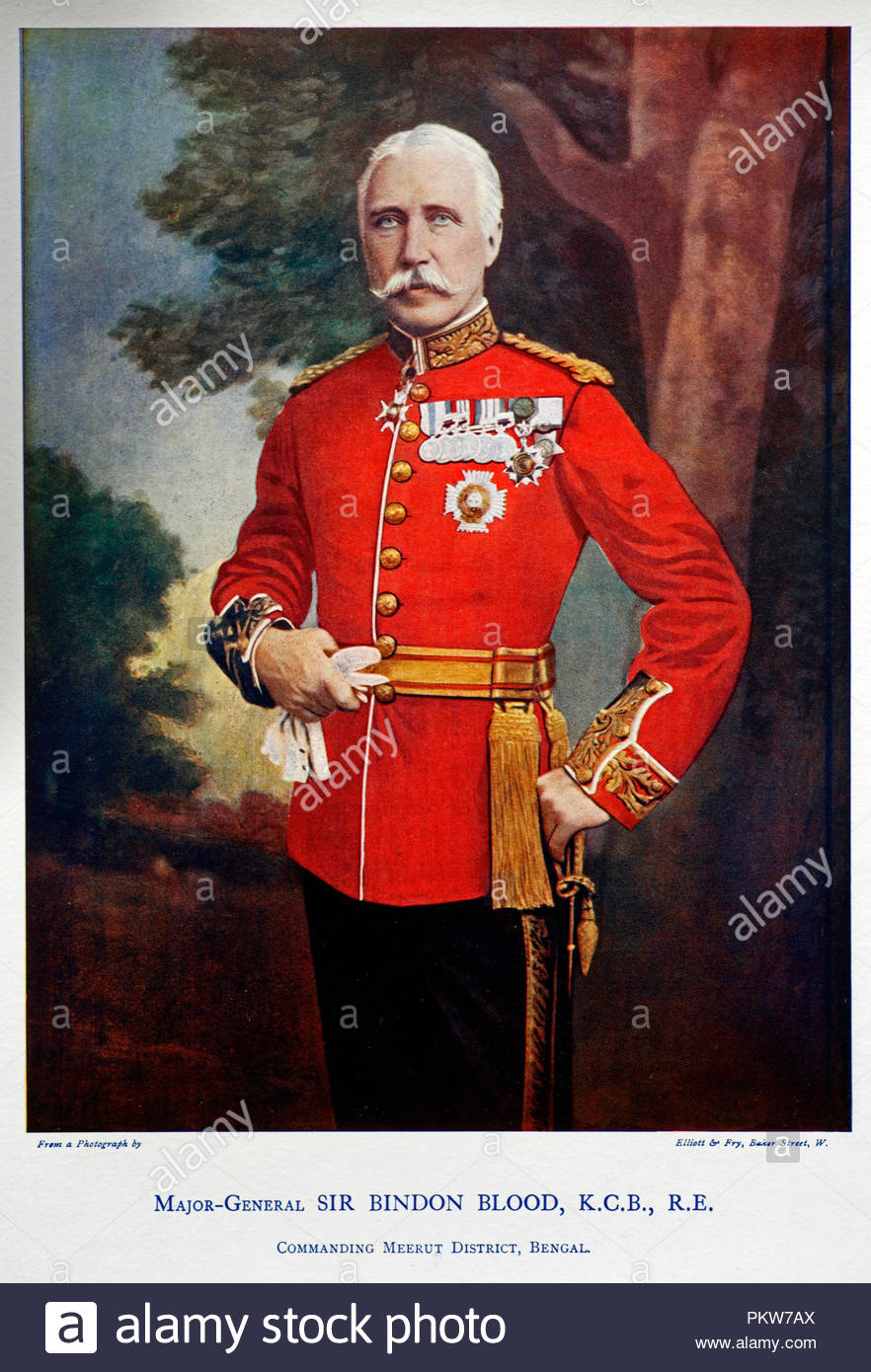 Major-General Sir Bindon Blood, GCB, GCVO, 1842 – 1940, was a British Army commander who served in Egypt, Afghanistan, India and Southern Africa. Colour illustration from 1900 - Stock Image