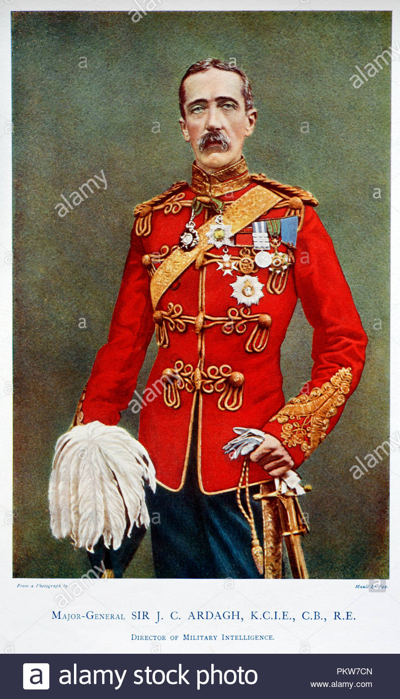 Major-General Sir John Charles Ardagh KCMG KCIE CB, 1840 – 1907, was an Anglo-Irish officer of the British Army, who served as a military engineer, surveyor, intelligence officer, and colonial administrator. Colour illustration from 1900 - Stock Image