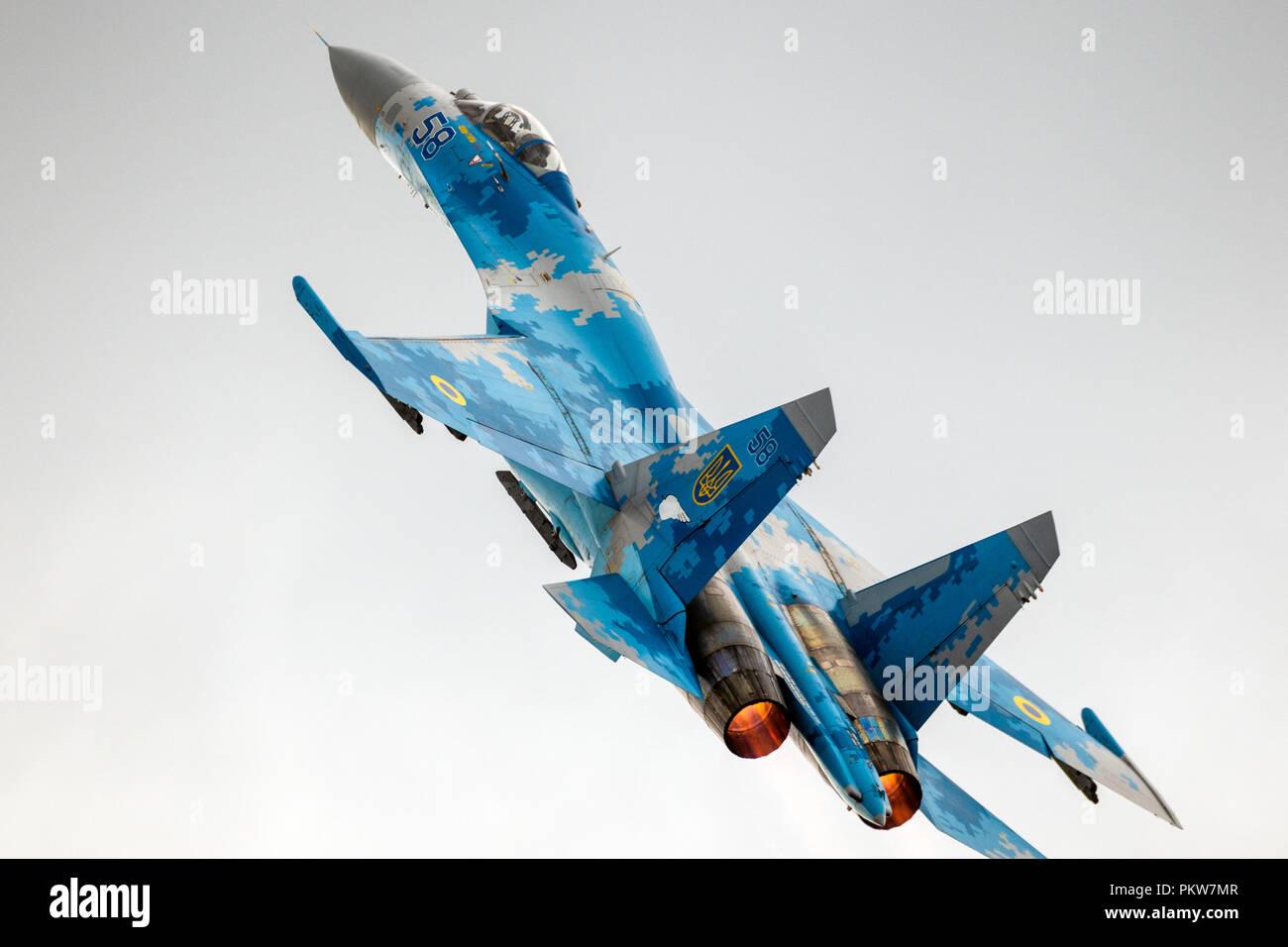 KLEINE BROGEL, BELGIUM - SEP 8, 2018: Ukrainian Air Force Sukhoi Su-27 Flanker fighter jet take off from Kleine-Brogel Airbase. - Stock Image