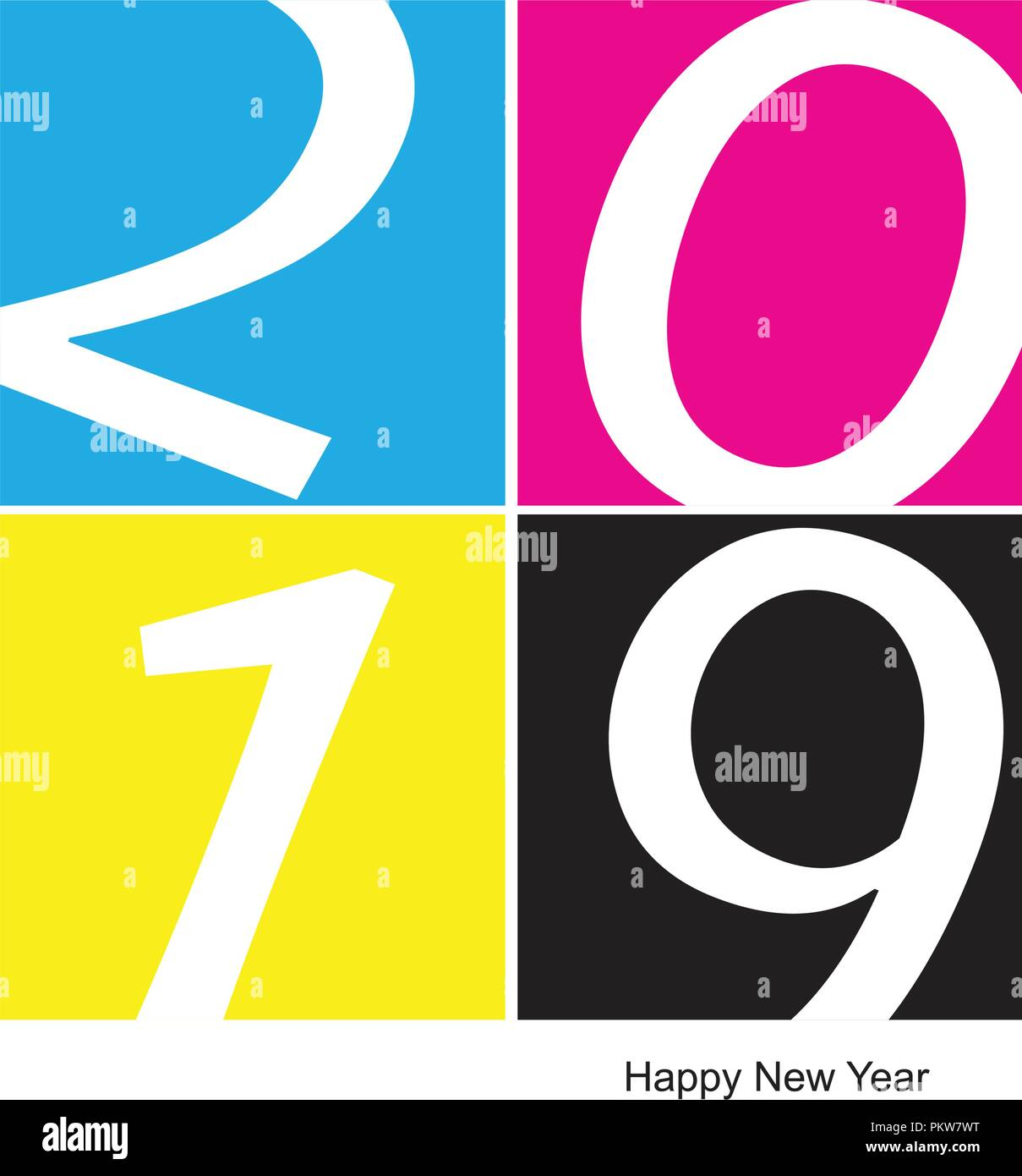 2019 happy new year CMYK offset printing background, Vector illustration - Stock Image