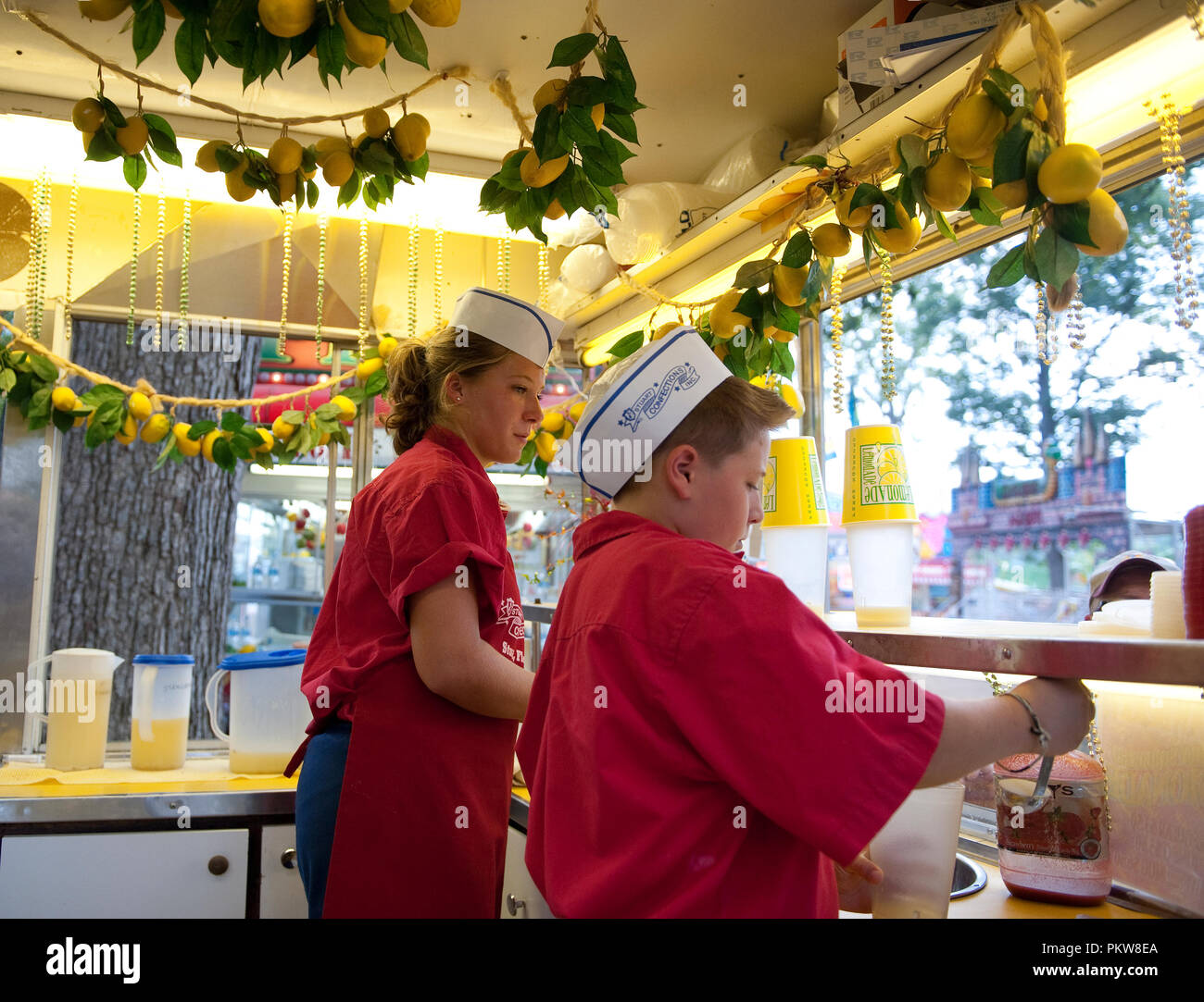 The heat wave made the lemondaid stand a big hit on the mid-way at the 56th Annual Clarke County Fair. - Stock Image