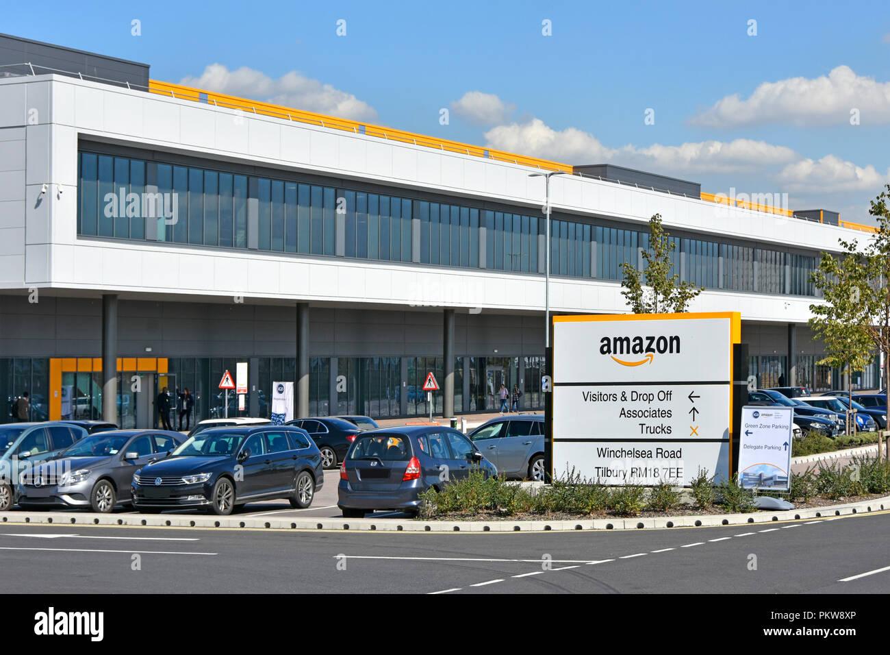 Big Amazon warehouse & distribution centre building handles online shopping retail internet & technology business development Tilbury Essex England UK - Stock Image