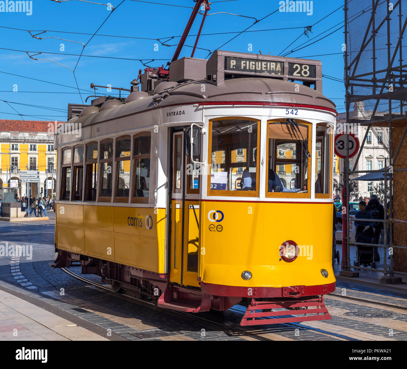 Lisbon tram in Praca do Imperio, Belem district, Lisbon, Portugal - Stock Image