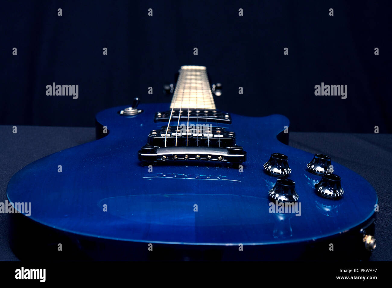Assortment Of Electric Guitar Images Closeup Up On Black Background