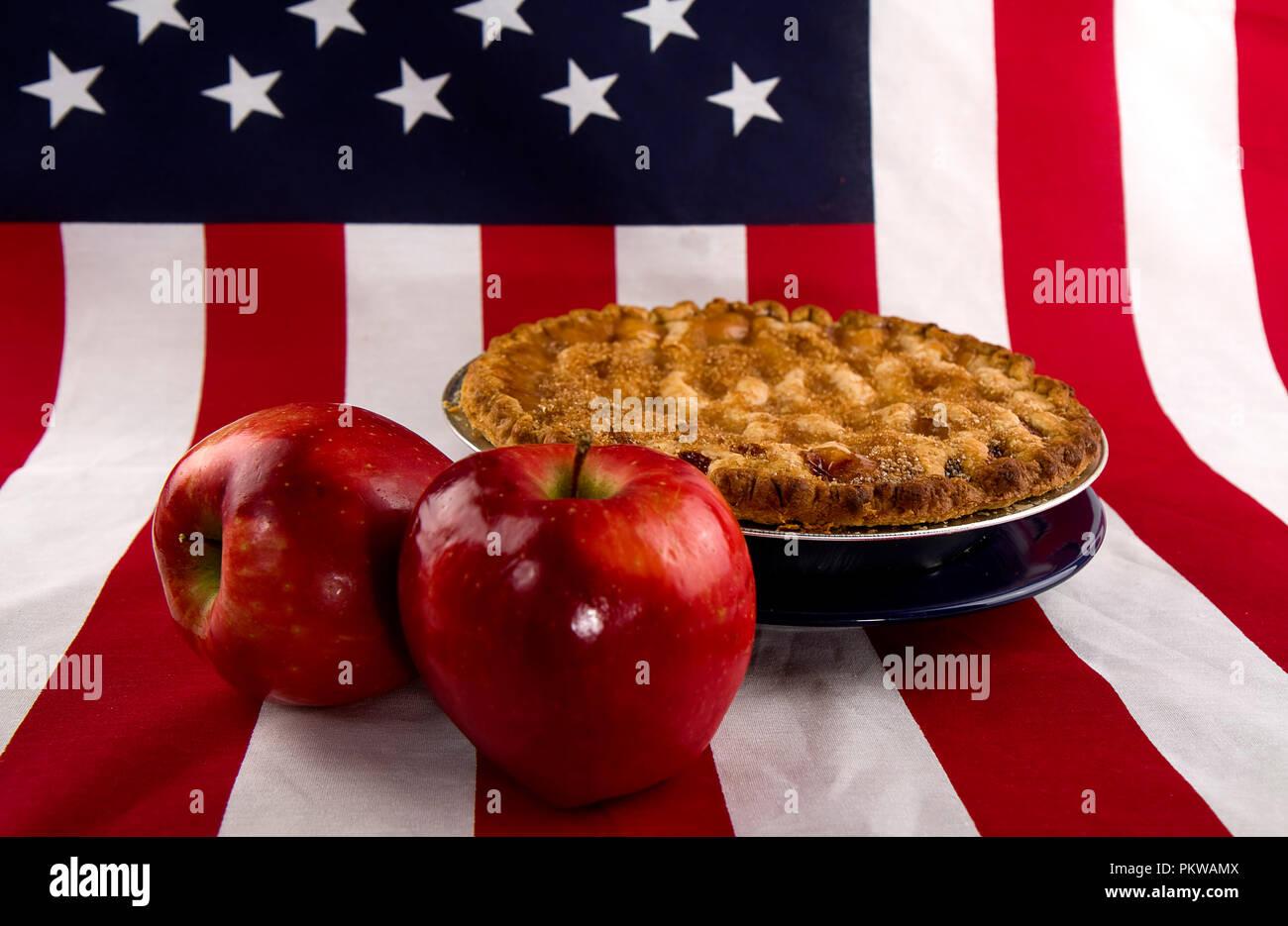 Patriotic concept, American Pie with flag. Stock Photo