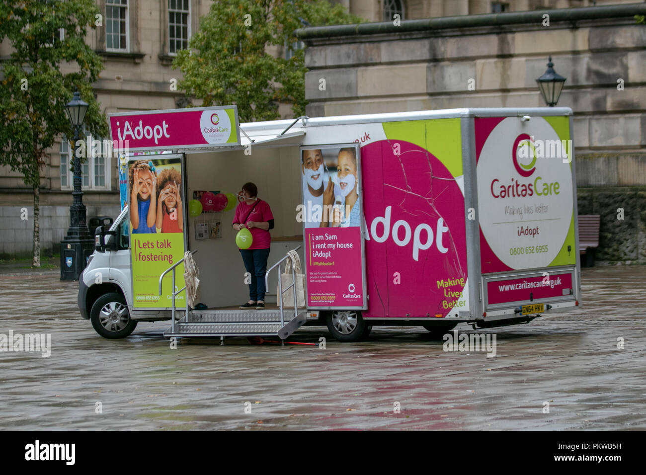 iAdopt CaritaCare fostering promotion vehicle, Preston, UK - Stock Image