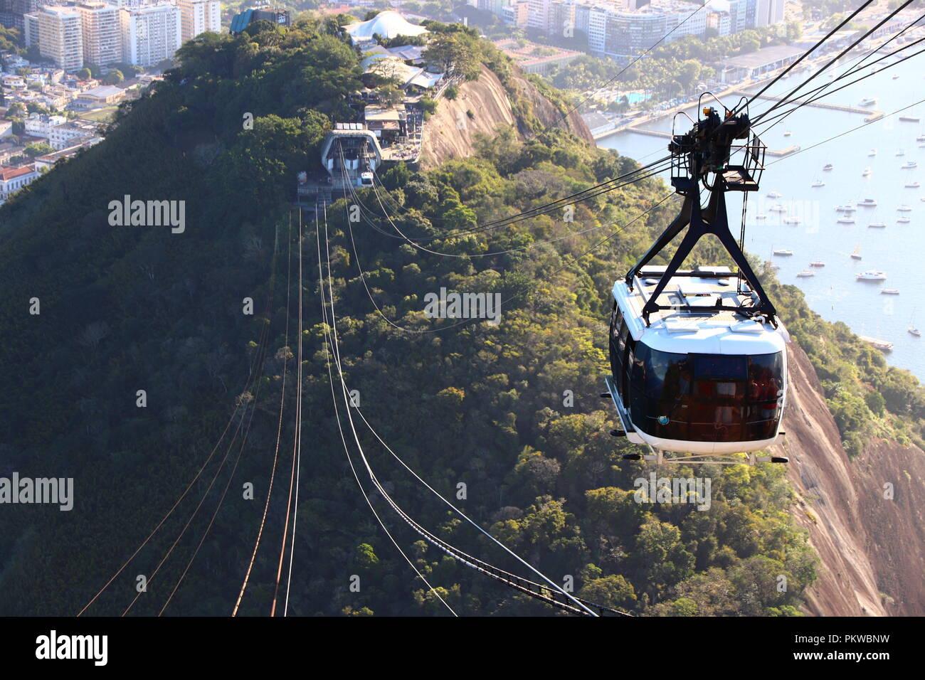 Bondinho from Pao de Azucar Rio de Janeiro - Stock Image