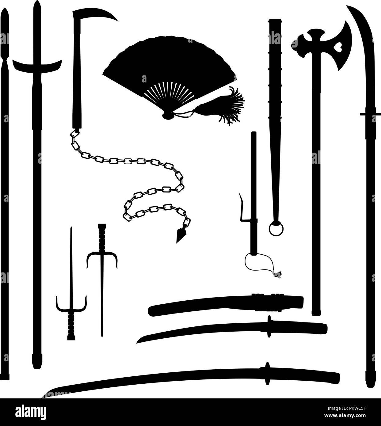 Japanese medieval samurai weapon outline isolated on white