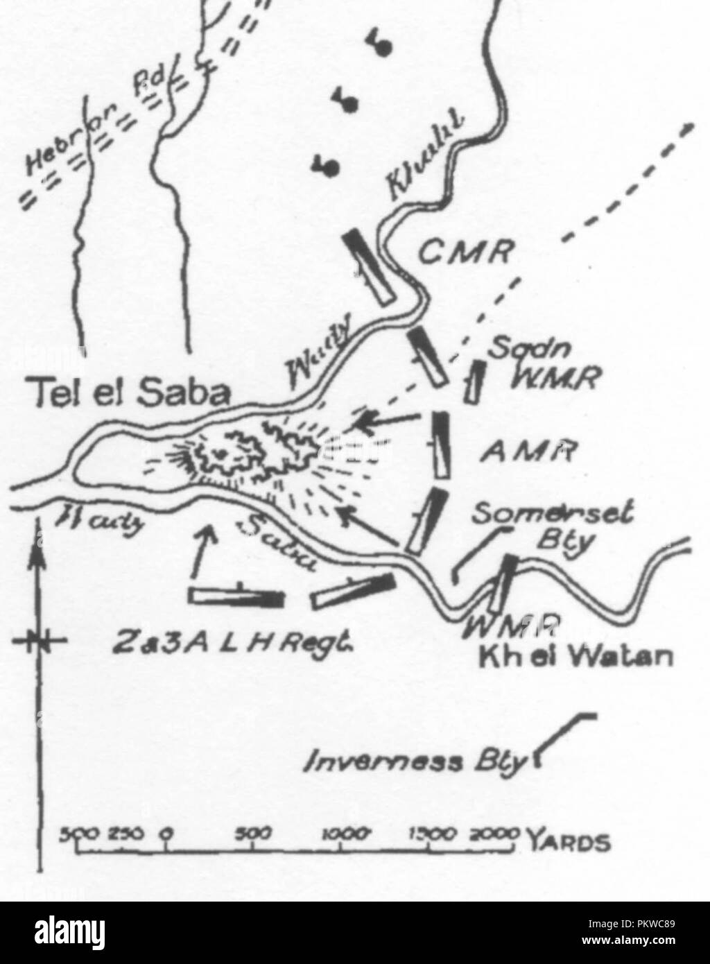 Gullett's Sketch Map on page 390 of the Tel el Saba attack - Stock Image