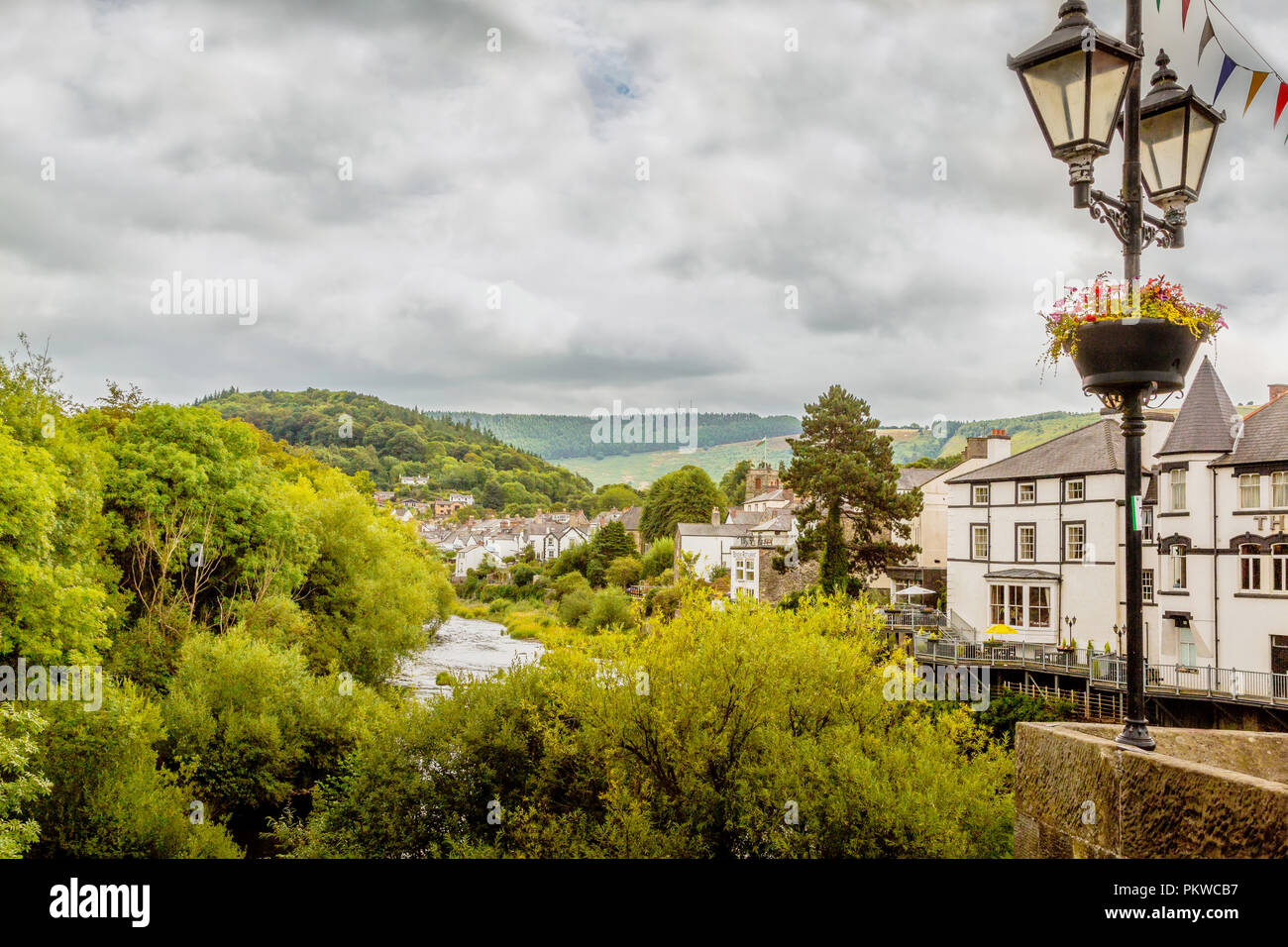 Views from the bridge in Llangollen towards the beautiful welsh landscape - Stock Image