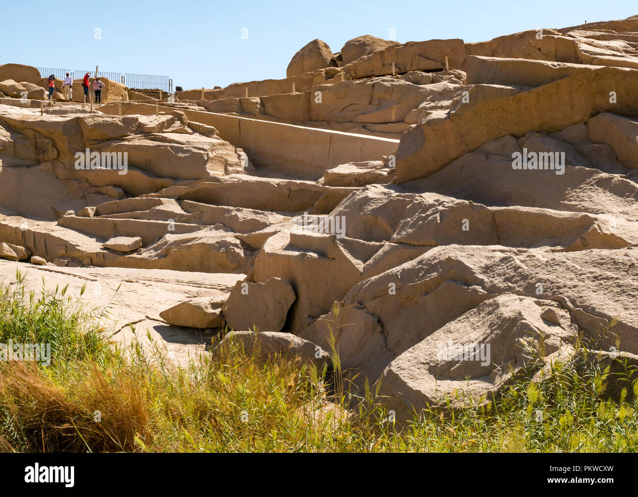 Setting of the granite rock unfinished obelisk in ancient Egyptians quarry, Aswan, Egypt, Africa - Stock Image