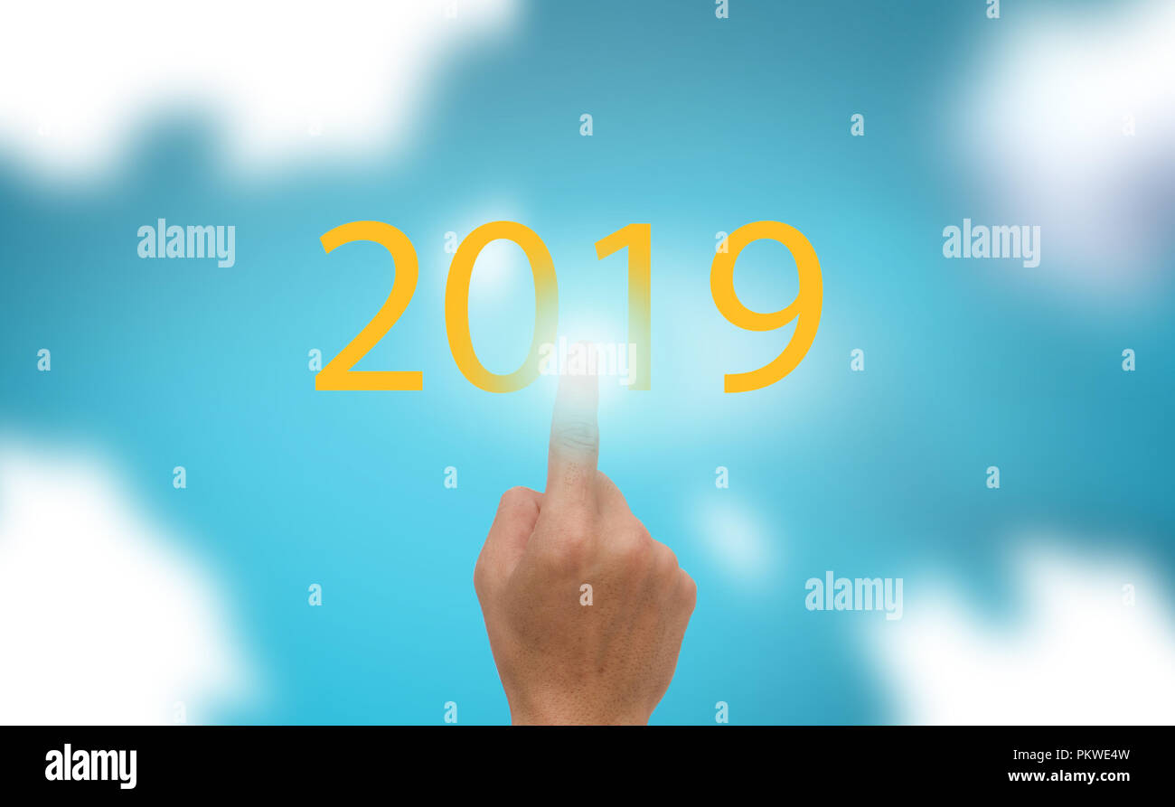 Progress bar show the loading the trend of new year 2019 on blue sky with clound  background - Stock Image