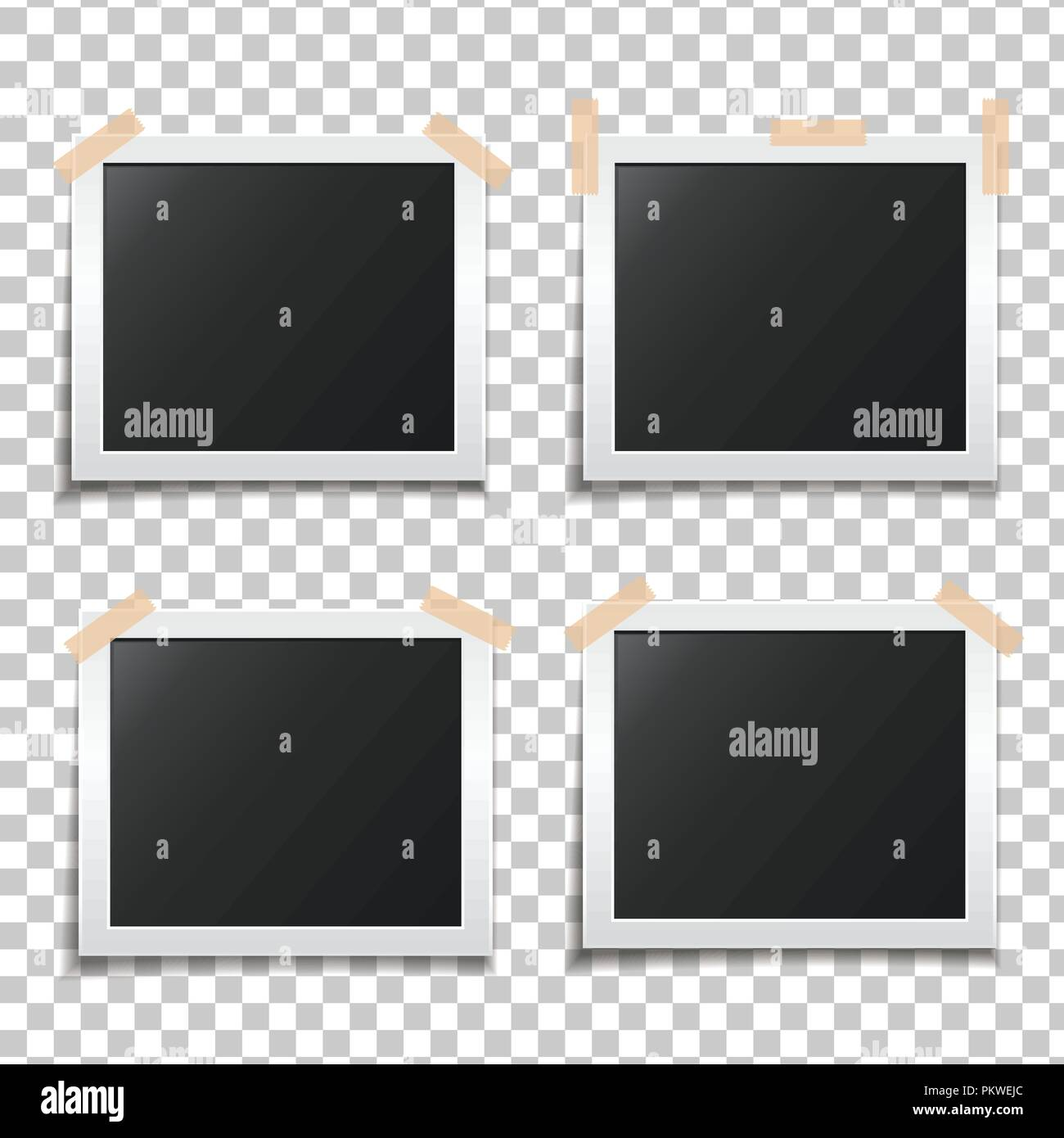 Template paper photo frame set. Template for your design works ...