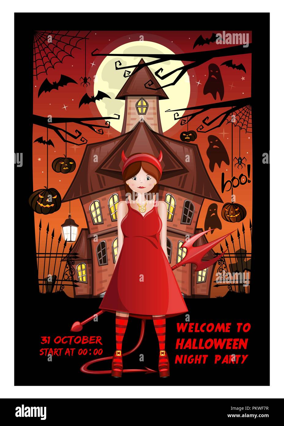Halloween Invitation Card Design Welcome To Halloween Night