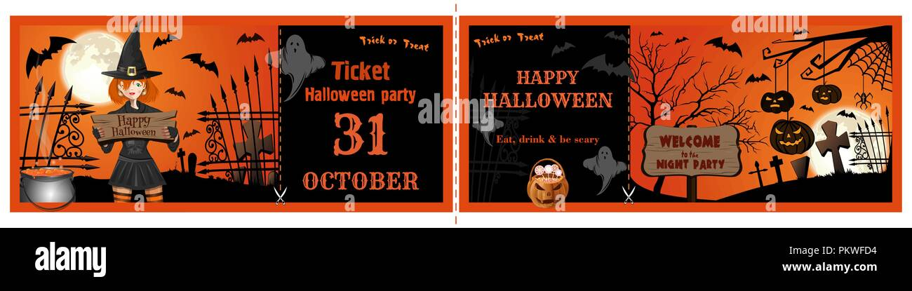 Invitation Tickets For The Halloween Night Party Invitation Flyer
