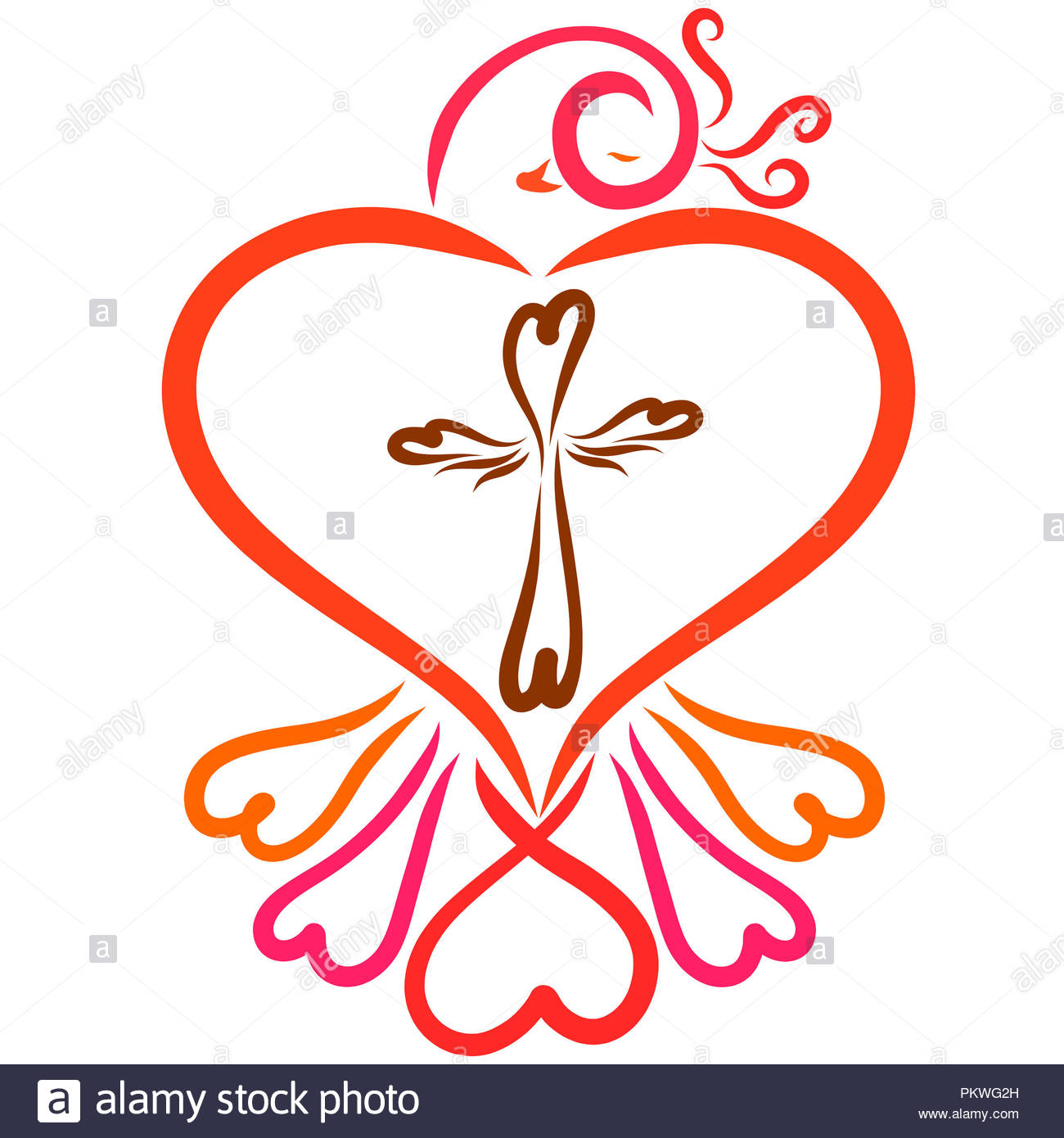 Bird Of Hearts And Cross Christian Symbols Stock Photo 218764297