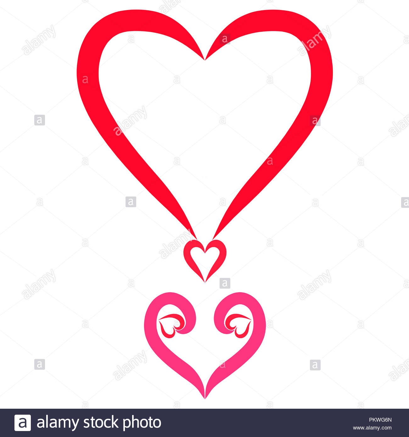 Exclamation point from the heart, beautiful feelings - Stock Image