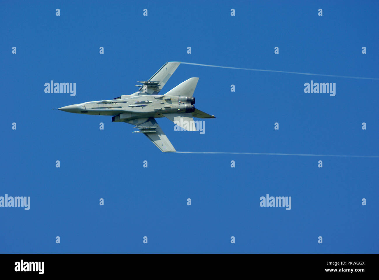 Royal Air Force Panavia Tornado F3 jet fighter plane. RAF Tornado ADV flying in clear blue sky. Fast jet. Space for copy. Tornado Air Defence Variant - Stock Image