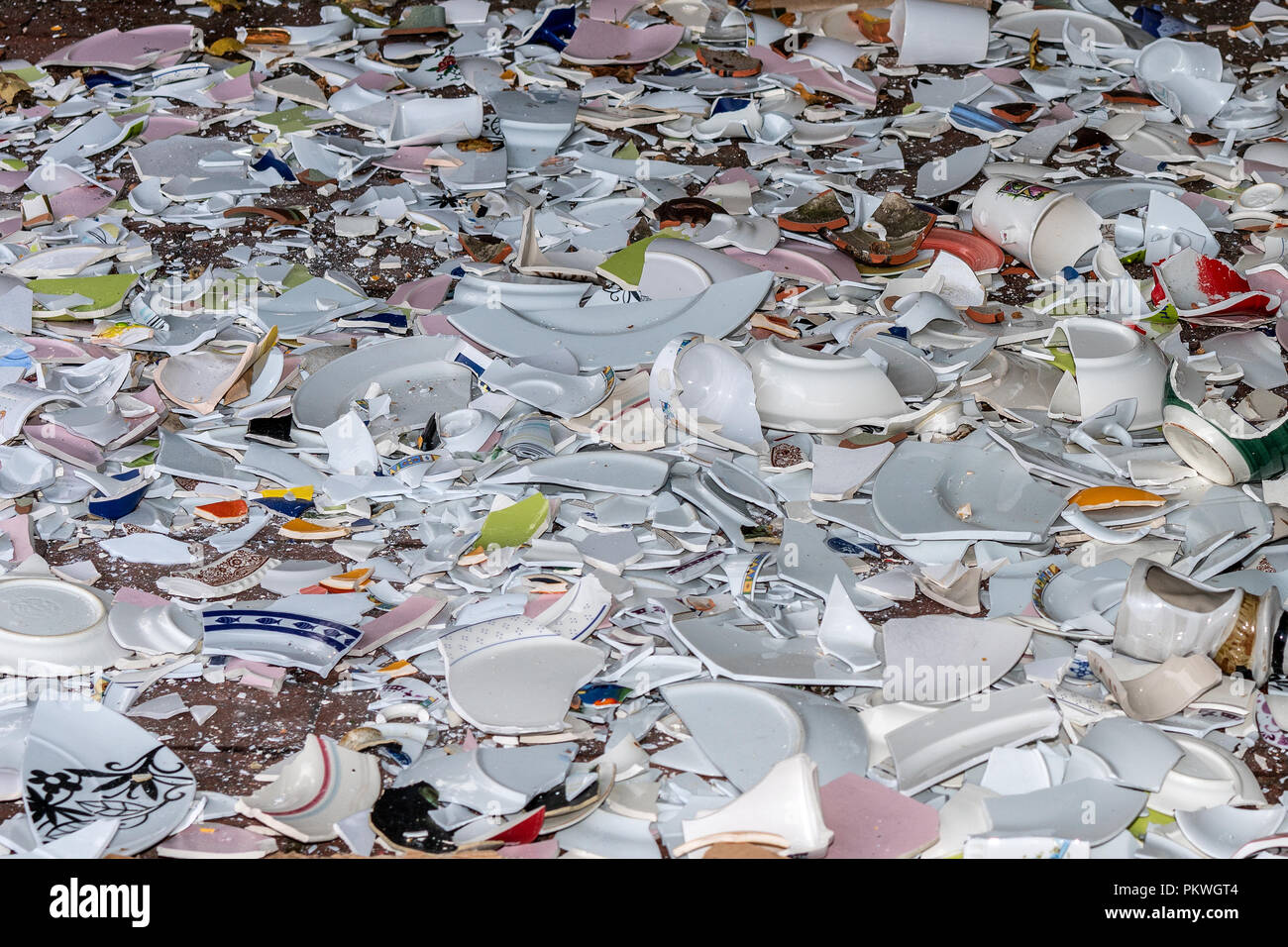 Shards bring luck, Polterabend. Stock Photo