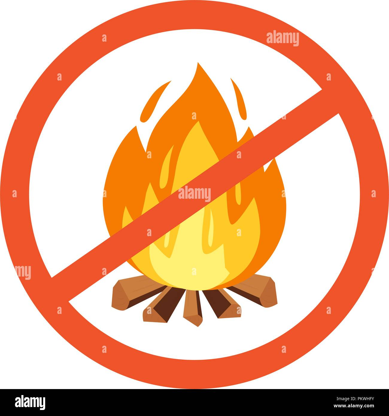 Vector flammable, hazard warning symbol design illustration. Forbidden to build a fire. Red line cross in circle with campfire - Stock Image