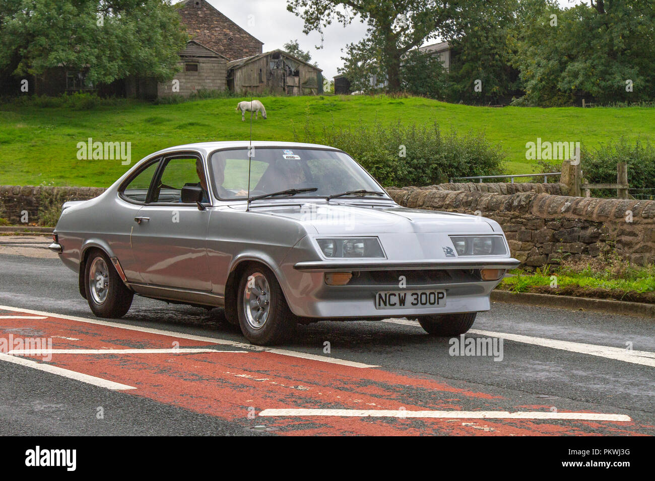 Silver 1975 Vauxhall Firenza 2279 DN Classic, vintage, veteran, cars of yesteryear, restored collectibles at Hoghton Tower Class Cars Rally, UK - Stock Image