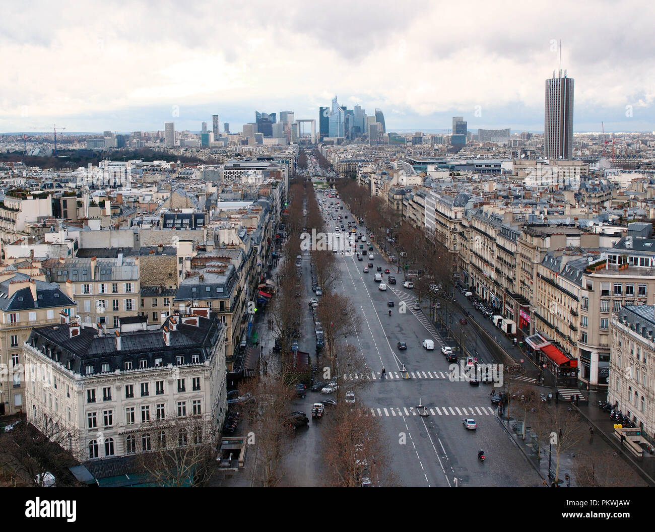 Looking at Paris from L'Arc de Triomphe - Stock Image