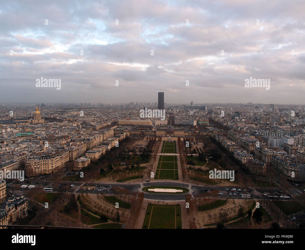 Looking at Paris from the top of the Eiffel Tower - Stock Image