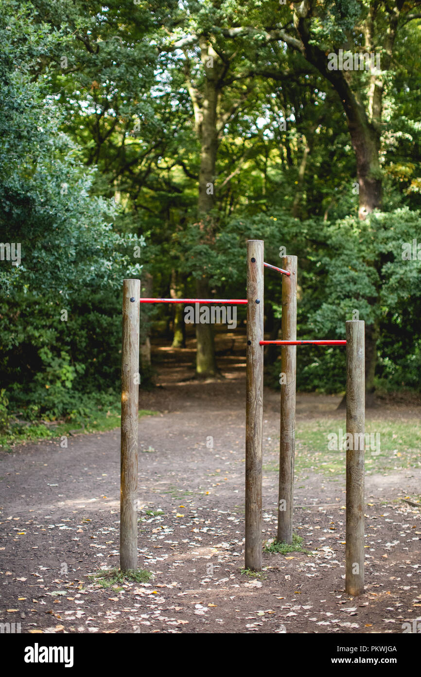 Outdoor gym / fitness equipment for use by the public to keep fit in a local park - Stock Image
