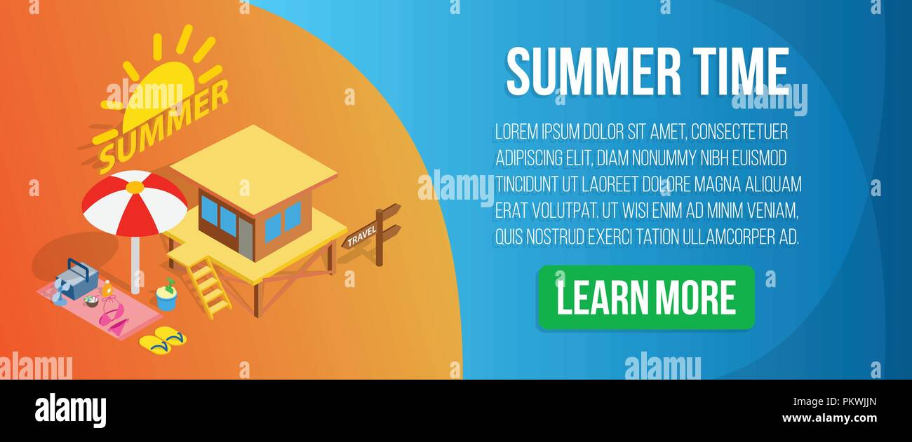 Summer time concept banner, isometric style - Stock Vector