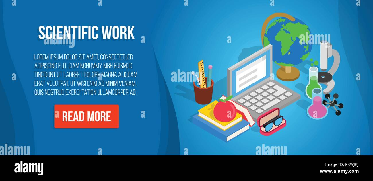 Scientific work concept banner, isometric style - Stock Image