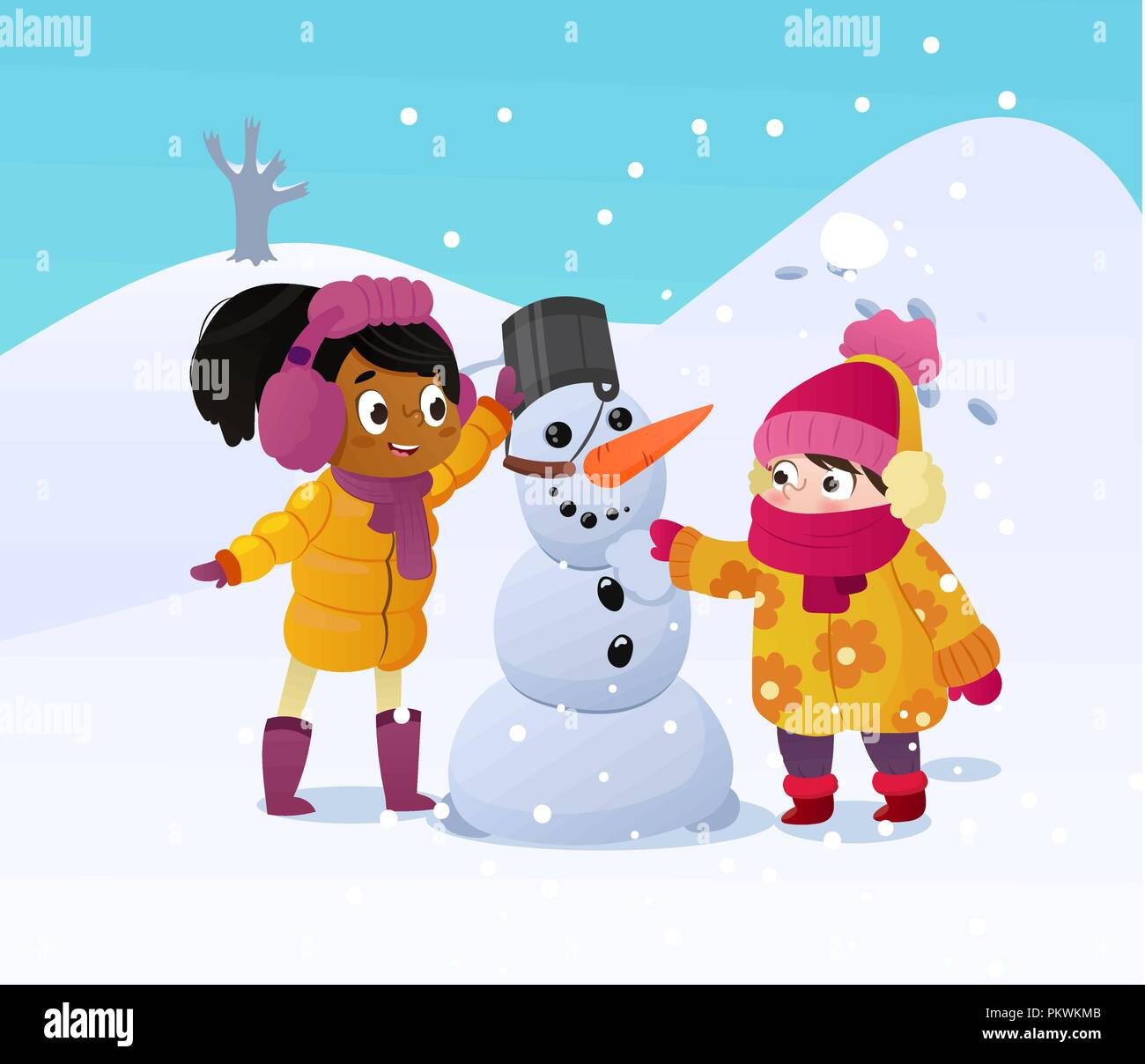 Cartoon Kids Playing On Snow High Resolution Stock Photography And Images Alamy