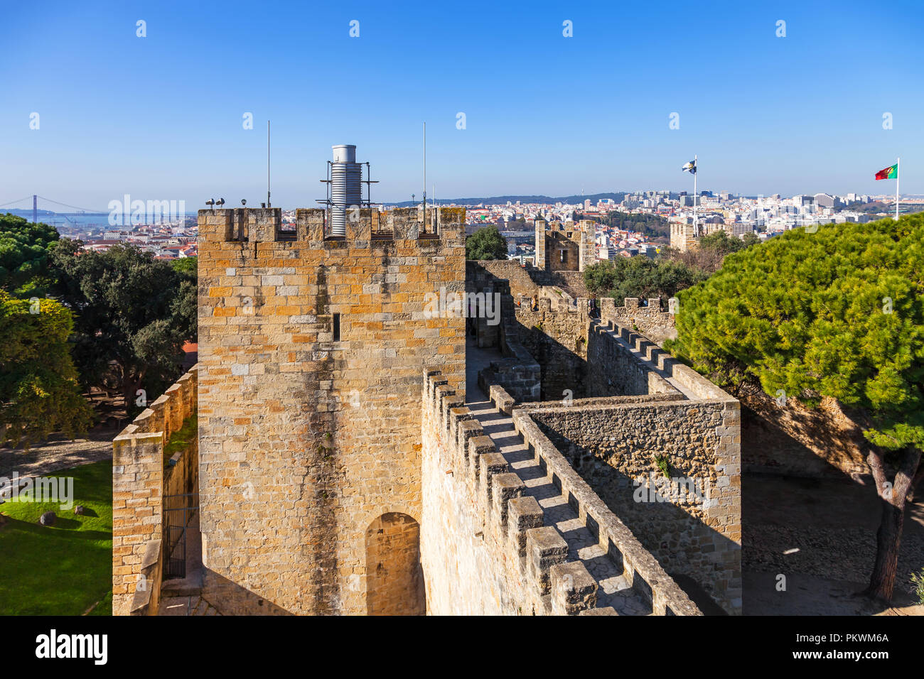 Lisbon, Portugal - February 1, 2017: Castelo de Sao Jorge aka Saint George Castle. Barbican structure on the keep entrance and the Ulysses Tower. - Stock Image
