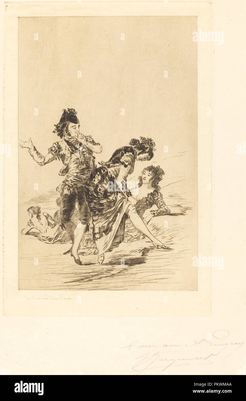 Spanish Scene (Scène espagnole). Dated: 1863. Dimensions: plate: 25.4 x 16.9 cm (10 x 6 5/8 in.)  sheet: 36.8 x 26.7 cm (14 1/2 x 10 1/2 in.). Medium: etching and drypoint on cream laid paper [proof]. Museum: National Gallery of Art, Washington DC. Author: Jules-Ferdinand Jacquemart after Francisco de Goya. - Stock Image