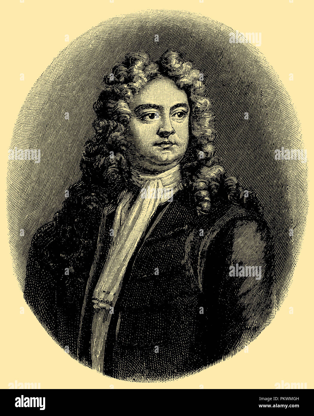 Richard Steele. After the engraving by J. Smith in the British Museum in London, - Stock Image