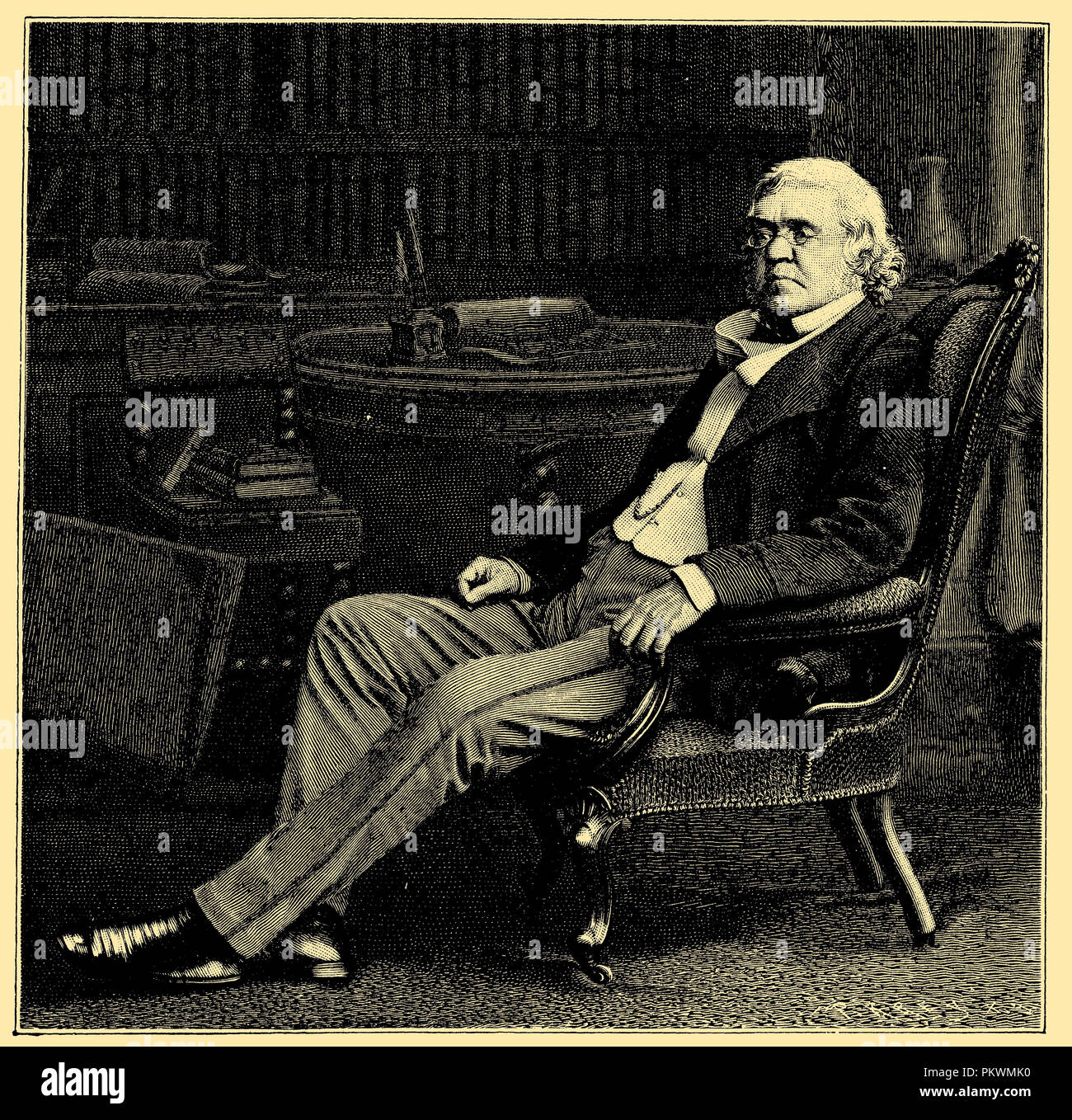 William Makepeace Thackeray (born 12 August 1811, died 24 December 1863), English writer. After a photograph of the Stereoscopic Company to London, - Stock Image
