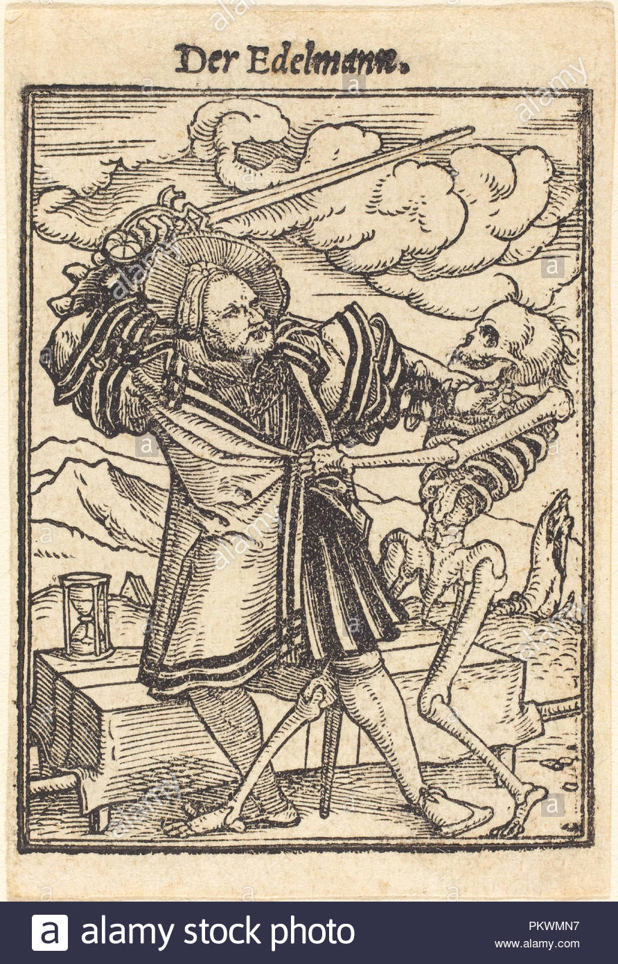 Nobleman. Medium: woodcut. Museum: National Gallery of Art, Washington DC. Author: Hans Holbein the Younger. - Stock Image