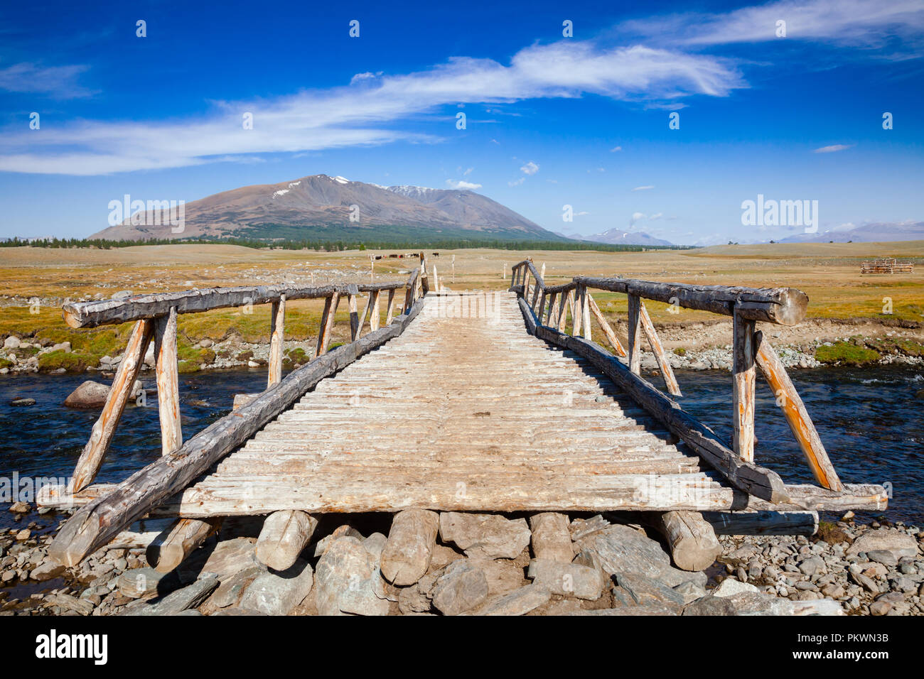 Wooden bridge over a river with distant mountain range in background, Altai Mountains, Western Mongolia - Stock Image